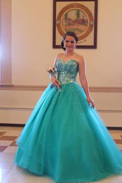 Queenly size 10 Mori Lee Green Ball gown evening gown/formal dress