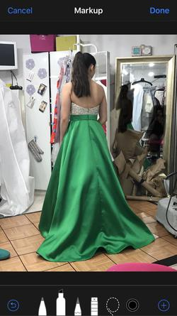 Jovani Green Size 4 Jewelled Halter Pageant Ball gown on Queenly