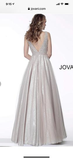 Style 66863 Jovani Gold Size 10 Plunge Ball gown on Queenly