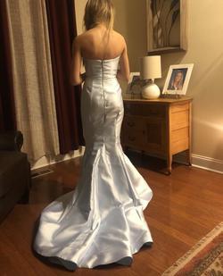 Style 51671 Sherri Hill Light Blue Size 0 Side Slit Mermaid Dress on Queenly