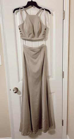 La Femme Silver Size 0 Halter Straight Dress on Queenly