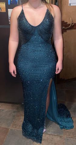 Ashley Lauren Blue Size 8 Pageant Side slit Dress on Queenly