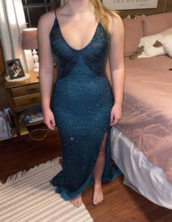 Queenly size 8 Ashley Lauren Blue Side slit evening gown/formal dress