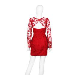Chaluisant Red Size 6 Lace Wedding Guest Cocktail Dress on Queenly