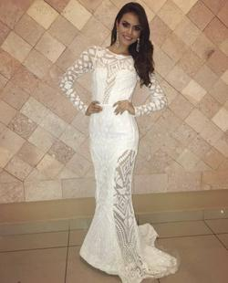 Chaluisant White Size 4 Sleeves Pageant Sheer Mermaid Dress on Queenly