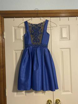 Sherri Hill Blue Size 0 Interview Cocktail Dress on Queenly