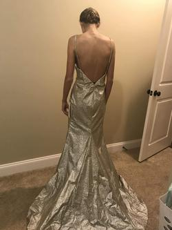 Style 60804 Alyce Gold Size 4 Plunge Shiny Train Dress on Queenly