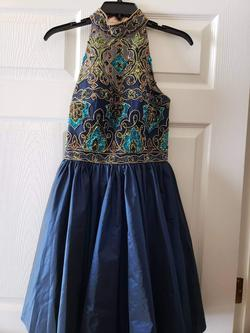 Sherri Hill Blue Size 2 Jewelled Halter Cocktail Dress on Queenly