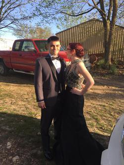 Style 72756 Rachel Allan Black Size 4 Prom Jewelled Train Mermaid Dress on Queenly