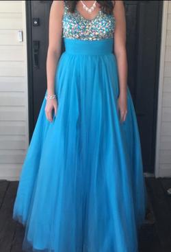 Studio 17 Light Blue Size 8 Jewelled A-line Dress on Queenly