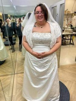David's Bridal White Size 24 Plus Size Train Tall Height A-line Dress on Queenly