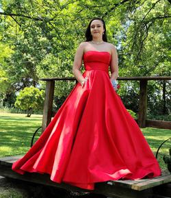 Sherri Hill Red Size 4 Prom Strapless Train Dress on Queenly