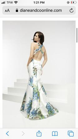 Style 5937 Jasz Couture White Size 0 Backless Train Mermaid Dress on Queenly