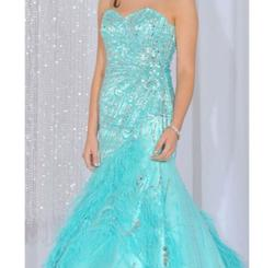 MacDuggal Blue Size 4 Feather Pageant Mermaid Dress on Queenly