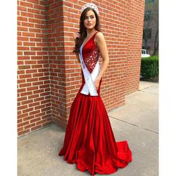 Sherri Hill Red Size 8 Pageant Tall Height Custom Mermaid Dress on Queenly