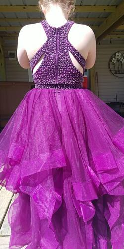 Prom Lilly Purple Size 10 Ruffles Halter Custom Ball gown on Queenly