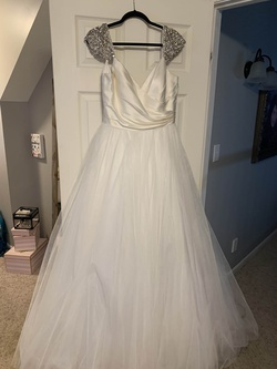 Queenly size 14 Sherri Hill White Ball gown evening gown/formal dress