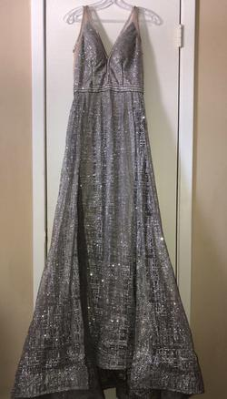 Jovani Silver Size 6 Prom Backless Train Dress on Queenly