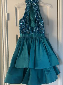 Sherri Hill Green Size 0 Halter Turquoise Cocktail Dress on Queenly