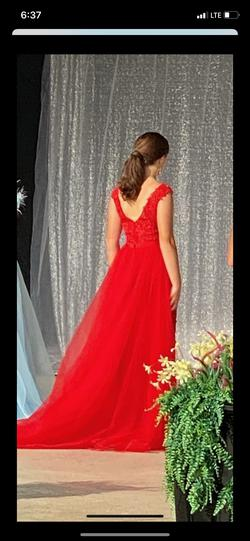 Sherri Hill Red Size 2 Backless Lace Train Dress on Queenly
