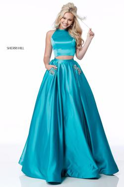 Sherri Hill Blue Size 4 Two Piece Ball gown on Queenly