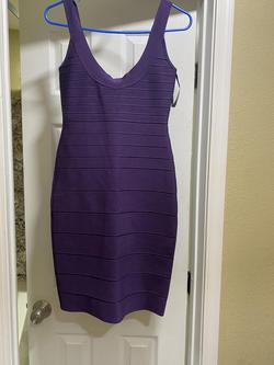 Herve Leger Purple Size 4 Mini Interview Cocktail Dress on Queenly