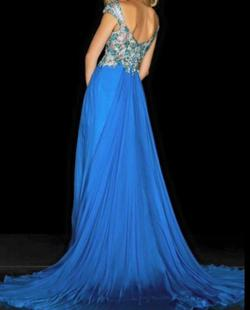 Queenly size 0  Blue A-line evening gown/formal dress