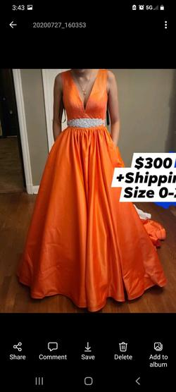 Queenly size 2  Orange Ball gown evening gown/formal dress
