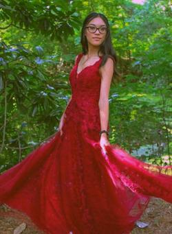 Queenly size 00  Red A-line evening gown/formal dress