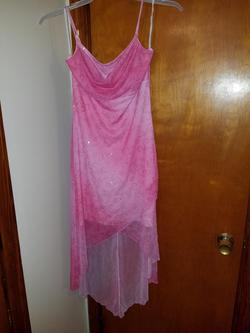 Style 73948 Taboo Pink Size 8 Sorority Formal Sheer Cocktail Dress on Queenly