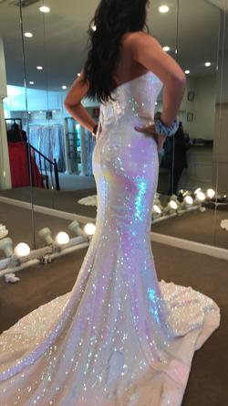 Jovani White Size 4 Prom Pageant Mermaid Dress on Queenly