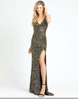 Style 1068 Mac Duggal Gold Size 8 Black Jewelled V Neck Plunge Side slit Dress on Queenly