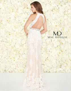Style 12150 Mac Duggal White Size 10 Prom Nude Pageant Straight Dress on Queenly