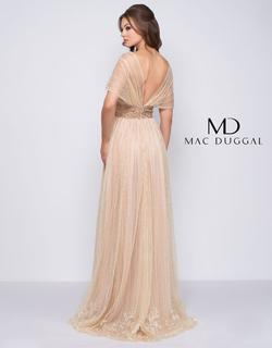 Style 12174 Mac Duggal Gold Size 4 Belt Train A-line Dress on Queenly