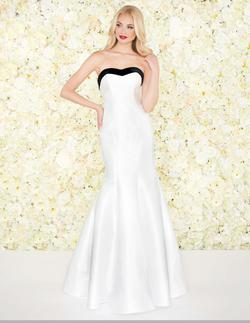 Style 12182 Mac Duggal White Size 8 Suede Prom Mermaid Dress on Queenly