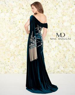 Style 12186 Mac Duggal Green Size 0 Velvet One Shoulder Pageant Side slit Dress on Queenly