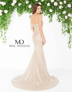 Style 20084 Mac Duggal Gold Size 16 Lace Tall Height Mermaid Dress on Queenly