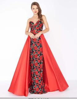 Queenly size 2 Mac Duggal Red Ball gown evening gown/formal dress