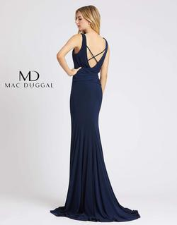 Style 2050 Mac Duggal Blue Size 4 Prom Train Straight Dress on Queenly
