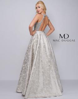 Style 2090 Mac Duggal Silver Size 0 Halter Sequin Ball gown on Queenly