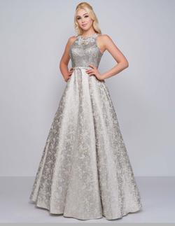 Queenly size 8 Mac Duggal Silver Ball gown evening gown/formal dress