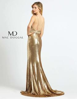 Style 2112 Mac Duggal Gold Size 12 Backless Straight Pageant Side slit Dress on Queenly