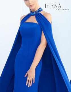 Style 25647 Mac Duggal Blue Size 2 Cape Pageant Mermaid Dress on Queenly