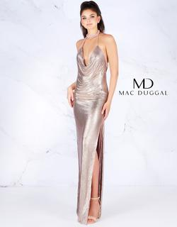 Style 25751 Mac Duggal Pink Size 4 Halter Plunge Pageant Side slit Dress on Queenly