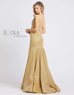 Style 26074 Mac Duggal Gold Size 4 Tall Height Wedding Guest V Neck Mermaid Dress on Queenly