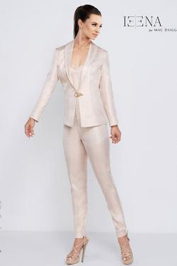 Style 26085 Mac Duggal White Size 4 Rose Gold Strapless Interview Jumpsuit Dress on Queenly