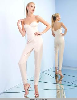 Queenly size 4 Mac Duggal White Jumpsuit evening gown/formal dress