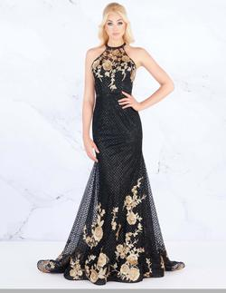 Style 30578 Mac Duggal Black Size 6 Fitted Halter Floral Mermaid Dress on Queenly