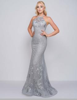 Style 30578 Mac Duggal Silver Size 4 Floral Pageant Mermaid Dress on Queenly