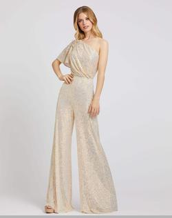 Queenly size 4 Mac Duggal Gold Jumpsuit evening gown/formal dress